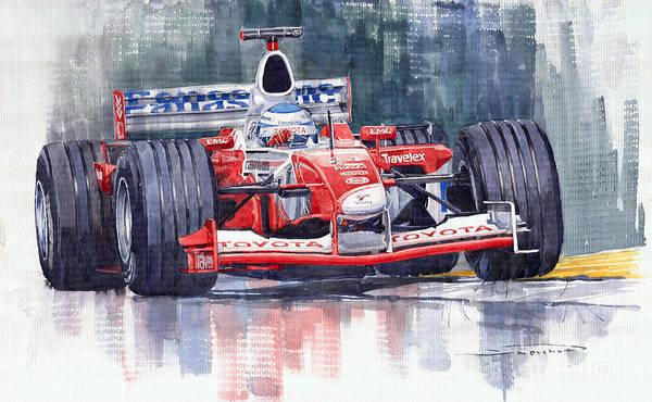 Sports Car Painting - Panasonic Toyota Tf102 F1 2002 Mika Salo by Yuriy Shevchuk