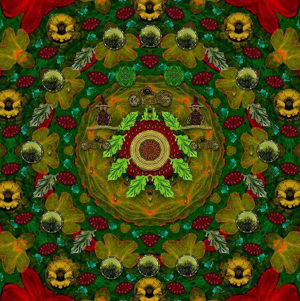 Panda Bears With Motorcycles In The Mandala Forest Art Print