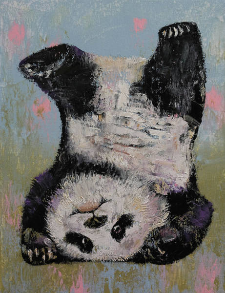 Boys Room Painting - Panda Headstand by Michael Creese