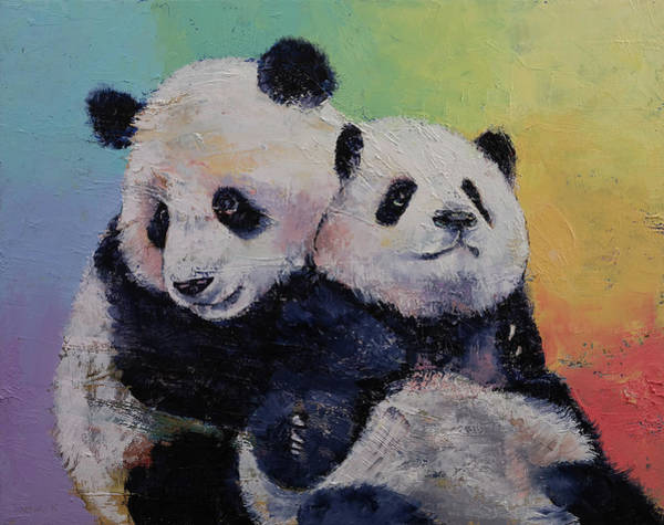 Two Friends Wall Art - Painting - Panda Hugs by Michael Creese