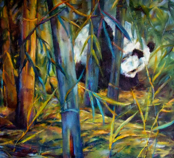 Bamboo Painting - Panda In Bamboo by Peggy Wilson