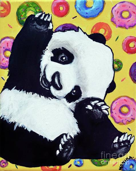 Doughnut Painting - Panda Eat These Donuts by Monika Sylvestre