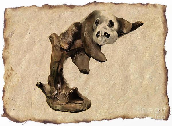 Panda Drawing Painting - Panda On The Tree by Sergey Lukashin