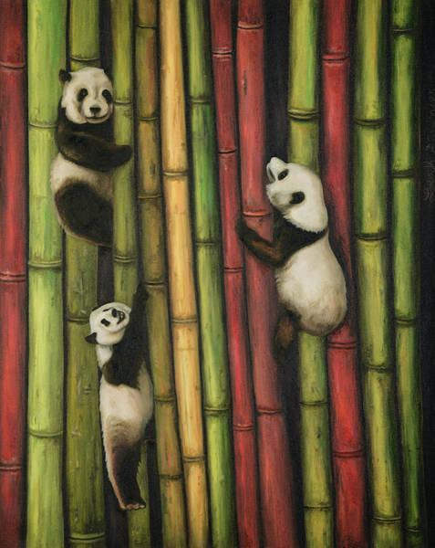 Wall Art - Painting - Pandas Climbing Bamboo by Leah Saulnier The Painting Maniac