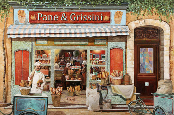 Bread Wall Art - Painting - Pane E Grissini by Guido Borelli