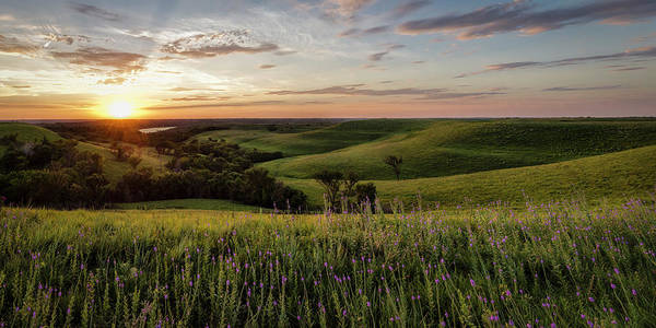 Photograph - Pano - Flint Hills Sunset   by Scott Bean