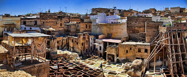 Muslim Photograph - Panorama Of The Ancient Tannery In Fez Morocco by David Smith