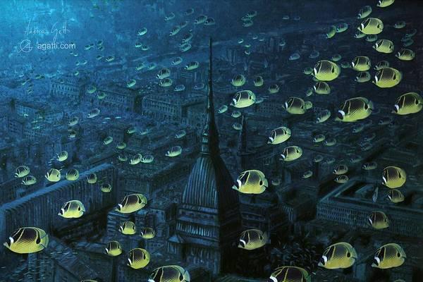Ocean Scape Digital Art - Panorama Con Pesci Gialli by Andrea Gatti