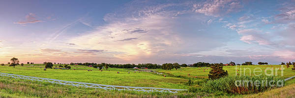 Photograph - Panorama Of Bales Of Hay In A Field - Chappell Hill Texas by Silvio Ligutti