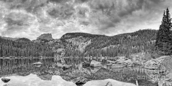 Photograph - Panorama Of Bear Lake And Halletts Peak In Monochrome - Rocky Mountain National Park Estes Park Colo by Silvio Ligutti