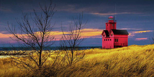 Photograph - Panorama Of Big Red Lighthouse By Holland Michigan At Sunset In Fall by Randall Nyhof