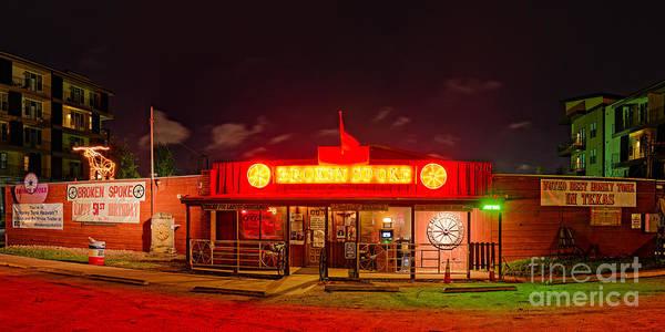 Honky Tonk Photograph - Panorama Of Broken Spoke Honky Tonk And Dance Hall - South Lamar Blvd Austin Texas by Silvio Ligutti