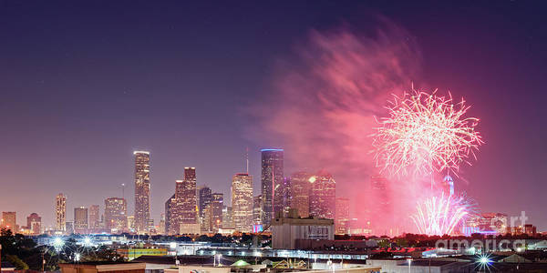Wall Art - Photograph - Panorama Of Downtown Houston Skyline Fireworks On The 4th Of July - Harris County Texas by Silvio Ligutti