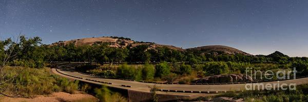 Photograph - Panorama Of Enchanted Rock At Night - Starry Night Texas Hill Country Fredericksburg Llano by Silvio Ligutti