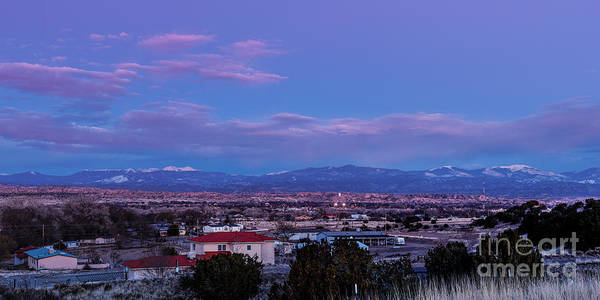 Land Of Enchantment Photograph - Panorama Of Espanola Valley With Sangre De Cristo Mountains During Twilight - Northern New Mexico by Silvio Ligutti