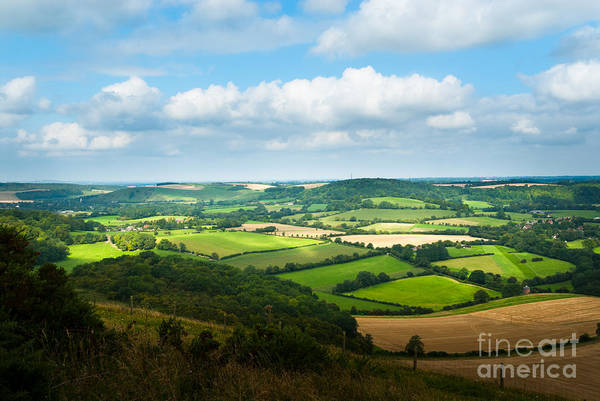 Photograph - Panorama Of Hampshire Countryside From Butser Hill Near Portsmou by Peter Noyce