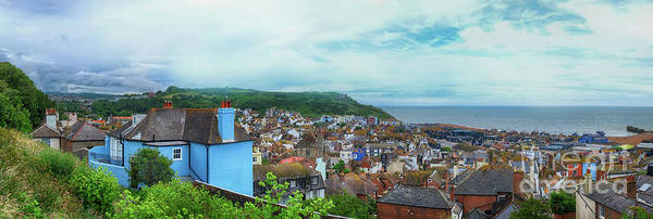 Photograph - panorama of Hastings Town, East Sussex, England by Ariadna De Raadt