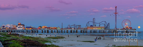 Photograph - Panorama Of Historic Pleasure Pier With Full Moon Rising In Galveston Island - Texas Gulf Coast by Silvio Ligutti