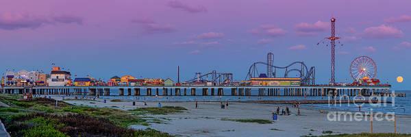 Wall Art - Photograph - Panorama Of Historic Pleasure Pier With Full Moon Rising In Galveston Island - Texas Gulf Coast by Silvio Ligutti