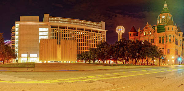 Wall Art - Photograph - Panorama Of Jfk Memorial, Reunion Tower, And Old Red Museum - Downtown Dallas Texas by Silvio Ligutti