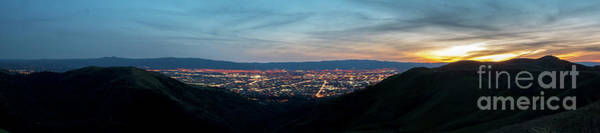 Photograph - Panorama Of Silicon Valley At Night With Lights On And Sunset On by PorqueNo Studios