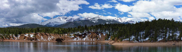 Catamount Photograph - Panorama Of South Catamount Reservoir With Pike's Peak Covered I by Bridget Calip