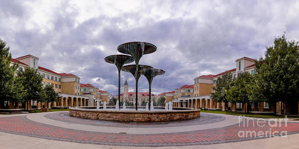 Tcu Wall Art - Photograph - Panorama Of Texas Christian University Campus Commons And Frog Fountain - Fort Worth Texas by Silvio Ligutti