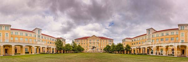 Tcu Wall Art - Photograph - Panorama Of Texas Christian University Campus Commons - Fort Worth - Texas by Silvio Ligutti