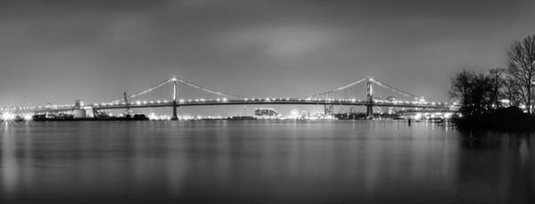 Wall Art - Photograph - Panorama Of The Benjamin Franklin Bridge - Black And White by Bill Cannon