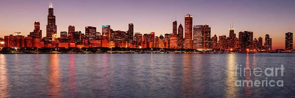 Photograph - Panorama Of The Chicago Skyline At Twilight From Adler Planetarium - Chicago Illinois by Silvio Ligutti