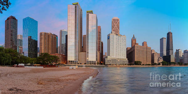 Photograph - Panorama Of The Chicago Skyline From Milton Lee Olive Park At Sunrise - Chicago Illinois by Silvio Ligutti