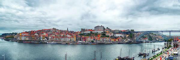 Photograph - panorama of the Douro river, Dom Luiz Bridge, Porto, Portugal by Ariadna De Raadt