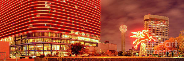 Mike D Photograph - Panorama Of The Original Pegasus, Reunion Tower, And Omni Hotel In Downtown Dallas - North Texas by Silvio Ligutti