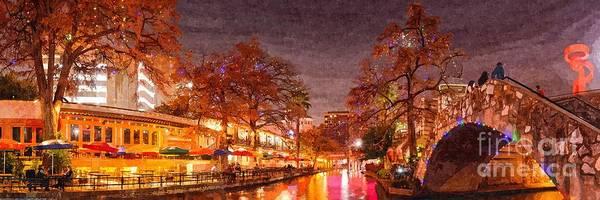 Photograph - Panorama Of The San Antonio Riverwalk During Christmas - San Antonio Bexar County Texas by Silvio Ligutti