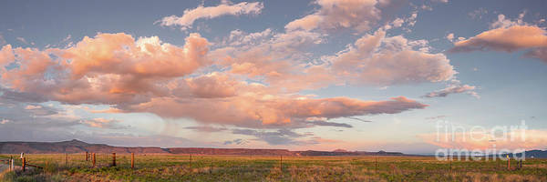 Land Of Enchantment Photograph - Panorama Of Twilight Clouds Over Tetilla Peak Recreation Area - Cochiti Lake New Mexico by Silvio Ligutti