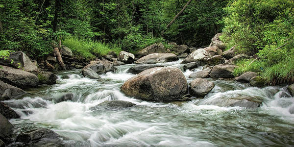 Photograph - Panorama Photograph Of Flowing Stream In Vermont by Randall Nyhof