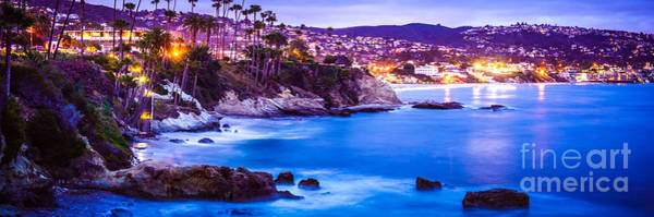 Laguna Mountains Photograph - Panorama Picture Of Laguna Beach City At Night by Paul Velgos