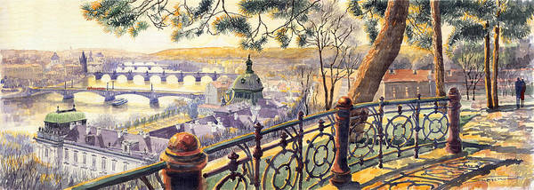 Wall Art - Painting - Panorama Prague Bridges by Yuriy Shevchuk