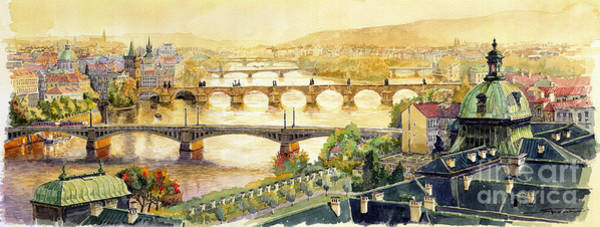 Watercolour Landscape Painting - Panorama Prague Briges by Yuriy Shevchuk