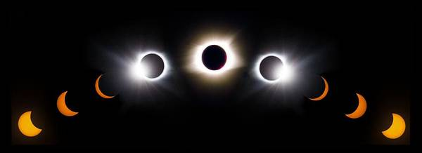 Photograph - Panorama Total Eclipse T Shirt Art Phases  by Debra and Dave Vanderlaan