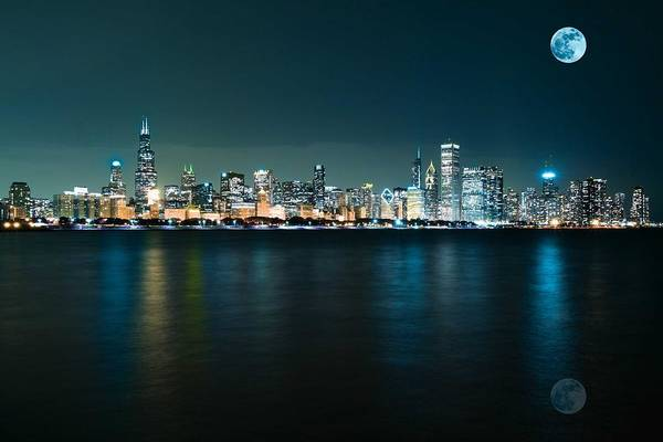 Painting - Panorama View Of Adler Planetarium, Chicago, United States 1a by Celestial Images
