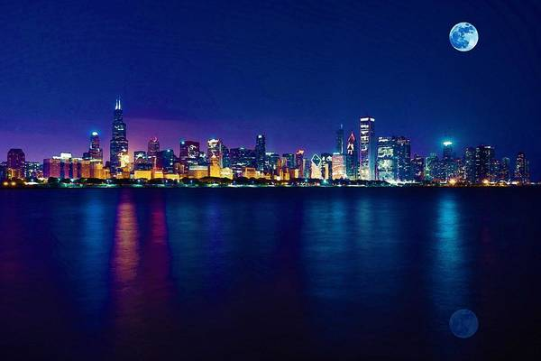 Painting - Panorama View Of Chicago Skyline, United States by Celestial Images