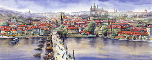 Watercolours Wall Art - Painting - Panorama With Vltava River Charles Bridge And Prague Castle St Vit by Yuriy Shevchuk