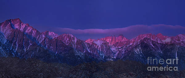Photograph - Panoramic Dawn Alpenglow Eastern Sierras California by Dave Welling