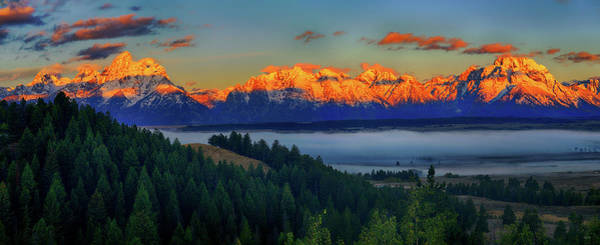 Photograph - Panoramic Dawn On The Tetons by Greg Norrell