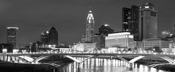 Photograph - Panoramic Fine Art Columbus Skyline - Black And White by Gregory Ballos