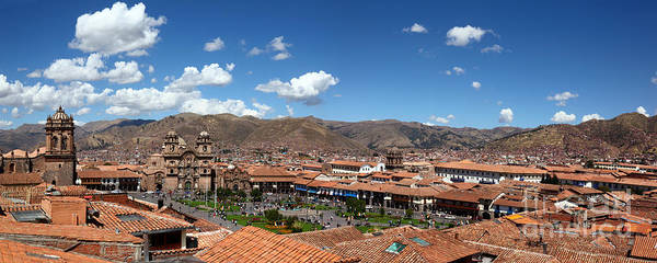 Photograph - Panoramic Image Of City Of Cusco Peru by James Brunker
