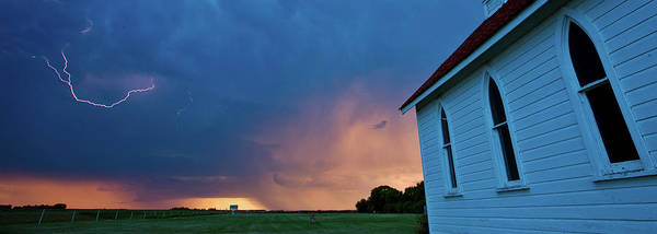 Famous Places Digital Art - Panoramic Lightning Storm And Church by Mark Duffy