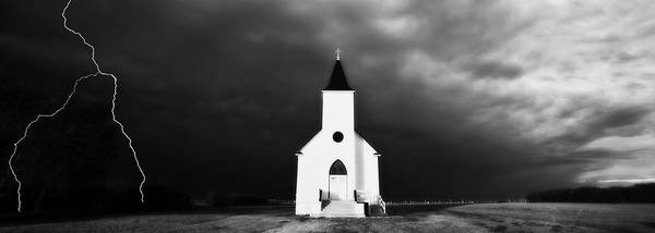 Famous Places Digital Art - Panoramic Lightning Storm And Prairie Church 2 by Mark Duffy
