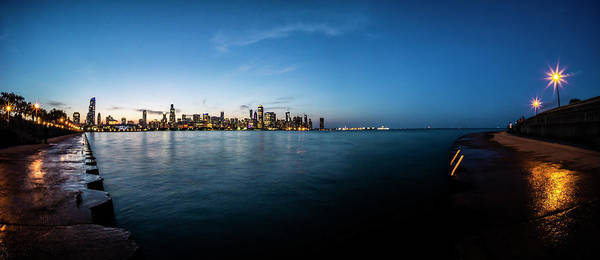 Wall Art - Photograph - Panoramic Look At The Chicago Skyline At Dusk  by Sven Brogren